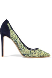 Nicholas Kirkwood Angie Lace And Suede Pumps Green