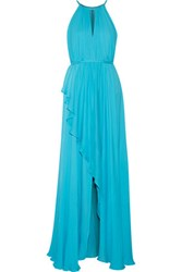 Badgley Mischka Ruffled Silk Chiffon Gown Turquoise