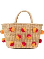 Nannacay Pom Pom Embellished Basket Red