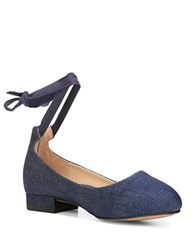 Franco Sarto Becca Ankle Wrapped Denim Ballet Flats Dark Indigo
