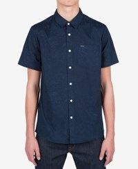 Volcom Men's Bayne Abstract Print Shirt Navy