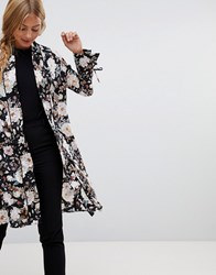 Qed London Satin Floral Kimono With Piping Black