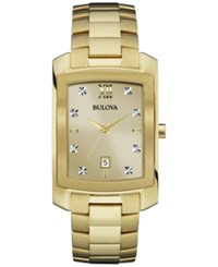 Bulova Men's Diamond Accent Gold Tone Stainless Steel Bracelet Watch 31Mm 97D107