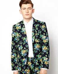 Vito Suit Jacket In Floral Navy