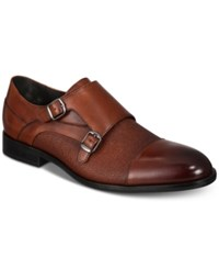 Alfani Luxton Textured Double Monk Cap Toe Loafers Created For Macy's Shoes Brown