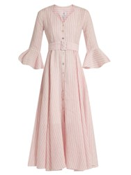 Gul Hurgel Fluted Sleeve Striped Linen Dress Pink Stripe