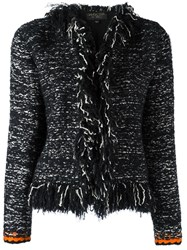 Giambattista Valli Frayed Seam Jacket Black
