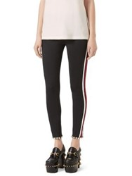 Gucci Faux Pearl Trim Striped Tech Jersey Leggings Black White Stripe