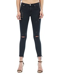 Hudson Jeans Nico Distressed Mid Rise Blackened