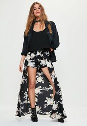 Missguided Black Floral Printed Chiffon Detail Maxi Shorts