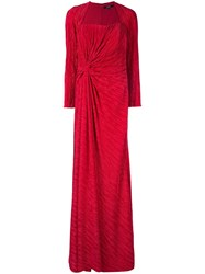 Badgley Mischka Pleated Drape Gown Red