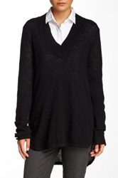 Cullen Hi Lo Wide V Neck Cashmere Sweater Black