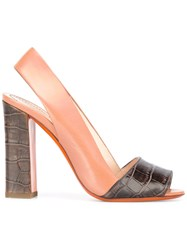 Santoni Chunky Heel Sandals Brown