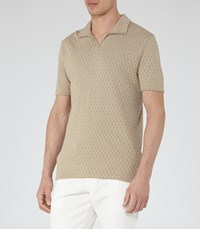 Reiss Clark Mens Open Neck Polo Shirt In Brown