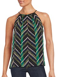 1.State Patterned Sleeveless Top Black Multi