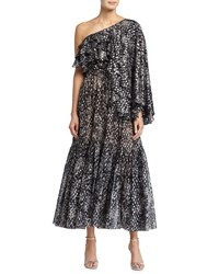 Michael Kors One Shoulder Metallic Dot Print Dress Slate Grey
