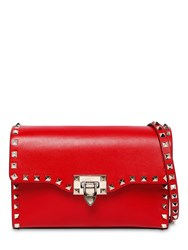 Valentino Small Rockstud Smooth Leather Bag Rouge Pure