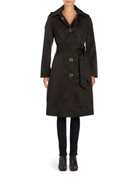 Anne Klein Solid Single Breasted Trench Coat Black