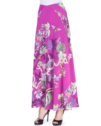 Etro Floral Menagerie Silk Maxi Skirt Pink