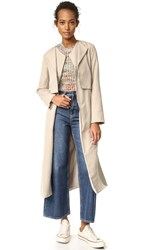 Cupcakes And Cashmere Alani Sueded Double Lapel Trench Coat Tan