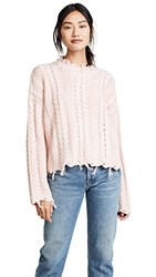 Moon River Fringed Cable Sweater Pink