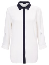 Gerry Weber Contrast Trim Shirt Mother Of Pearl Marine