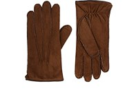 Barneys New York Men's Fur Lined Leather Gloves Brown
