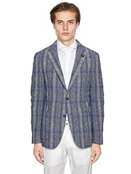 Lardini Cotton Viscose Linen Plaid Jacket