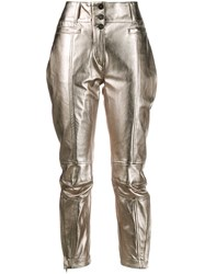 Ann Demeulemeester Button Up Slim Fit Trousers Gold