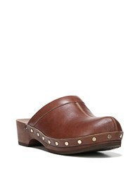 Dr. Scholl's Original Leather And Wooden Mules Cognac