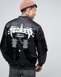 10.Deep 10 Deep Bomber Jacket With Tour Back Print Black