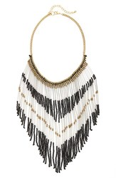 Women's Bp. Beaded Fringe Statement Necklace Gold Silver