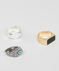 Pull And Bear Pullandbear Chunky Ring 3 Pack In Silver Gold