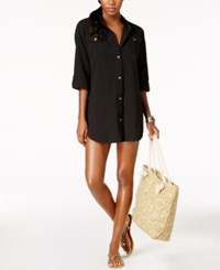 Dotti Cabana Life Shirtdress Cover Up Women's Swimsuit Black