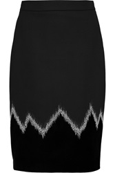 Emilio Pucci Stretch Wool Blend And Velvet Pencil Skirt