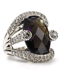 Abs By Allen Schwartz Women's Large Stone Pave Ring Black Diamond