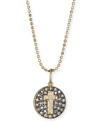 Sydney Evan Cross Medallion Necklace With Diamonds Yellow Gold