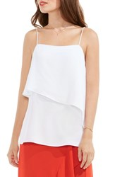 Vince Camuto Women's Asymmetrical Overlay Camisole Ultra White