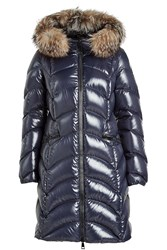 Moncler Quilted Down Parka With Fur Trimmed Hood Blue