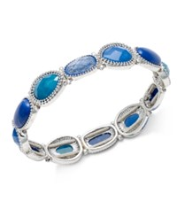 Nine West Silver Tone Blue Stone Stretch Bracelet