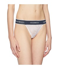 Emporio Armani Lace Thong With Branded Waistband White Underwear