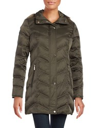 Kenneth Cole Quilted Faux Fur Trim Hooded Jacket Olive