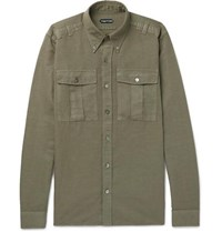 Tom Ford Slim Fit Button Down Collar Linen And Cotton Blend Shirt Green