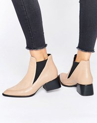 Sol Sana Rico Nude Pony Leather Heeled Ankle Boots Nude Pony Leather Beige