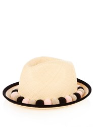 Benoit Missolin Mexico Pompom Embellished Straw Fedora Cream Multi