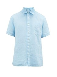 120 Lino Short Sleeve Linen Poplin Shirt Blue