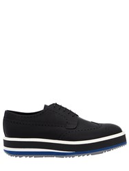Prada Opposite Rubberized Leather Derby Shoes Black