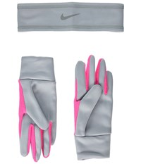 Nike Run Thermal Headband And Gloves Set Wolf Grey Hyper Pink Silver Athletic Sports Equipment Gray