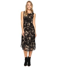 Lucky Brand Heather Floral Dress Black Multi Women's Dress