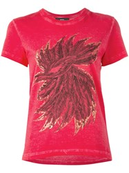 Diesel Feathers Print T Shirt Red